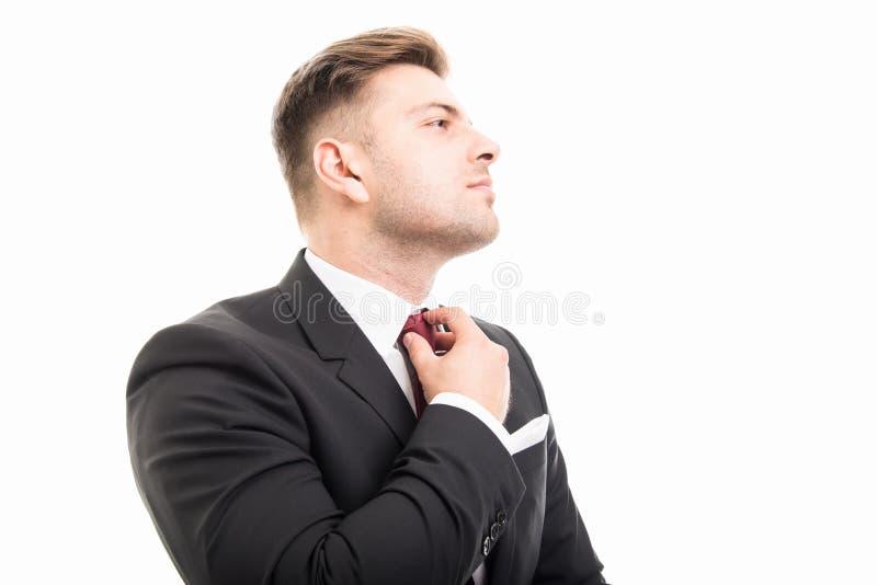 Närbild av det stiliga anseendet för affärsman som ordnar hans band royaltyfri fotografi