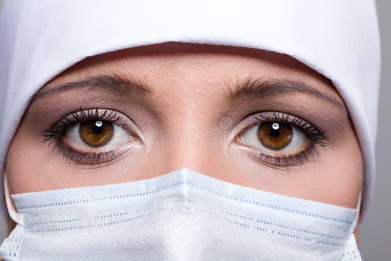 Närbild av doktorn som bär det kirurgiska locket och maskeringen royaltyfri foto