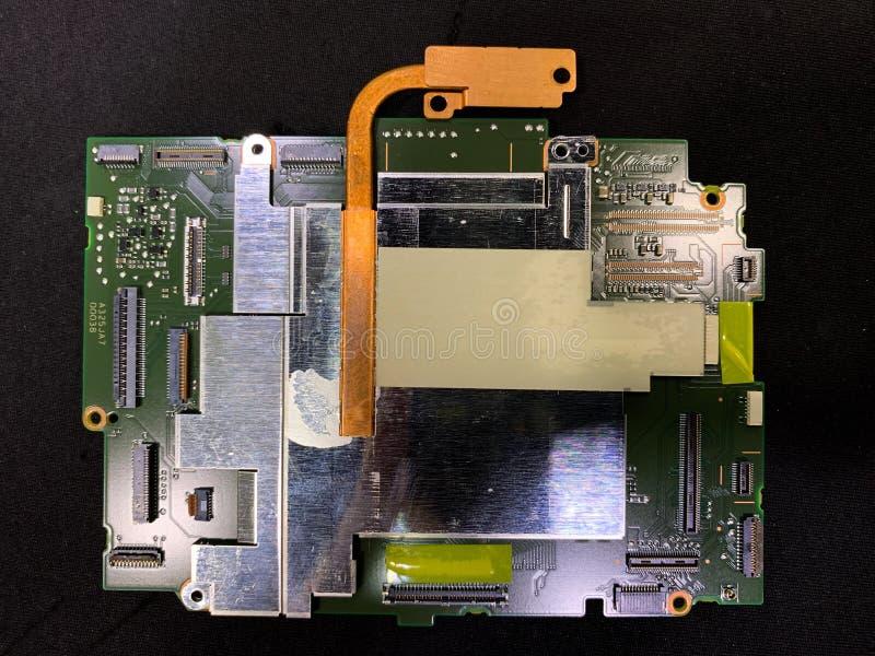 Närbild av elektronisk stärkande utrustning, mekanisk hjärnprogramvara inom kameran royaltyfri bild