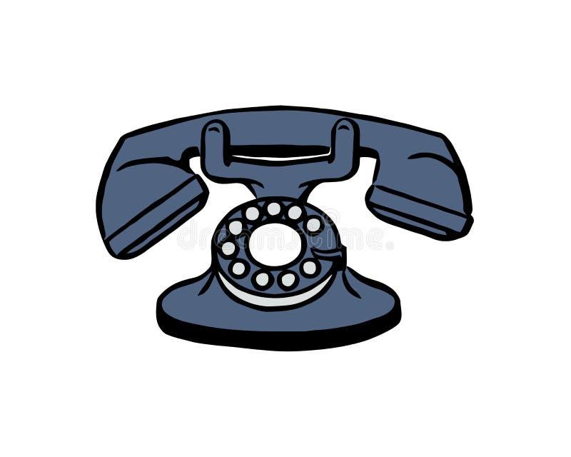 Närbild av en gammal telefon som isoleras på vit bakgrund stock illustrationer