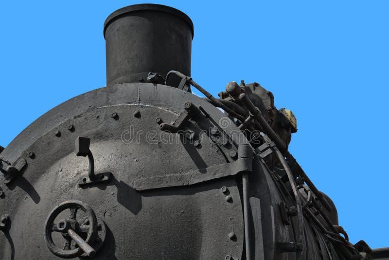 Närbild av en historisk svart ångalokomotiv, transport royaltyfri bild