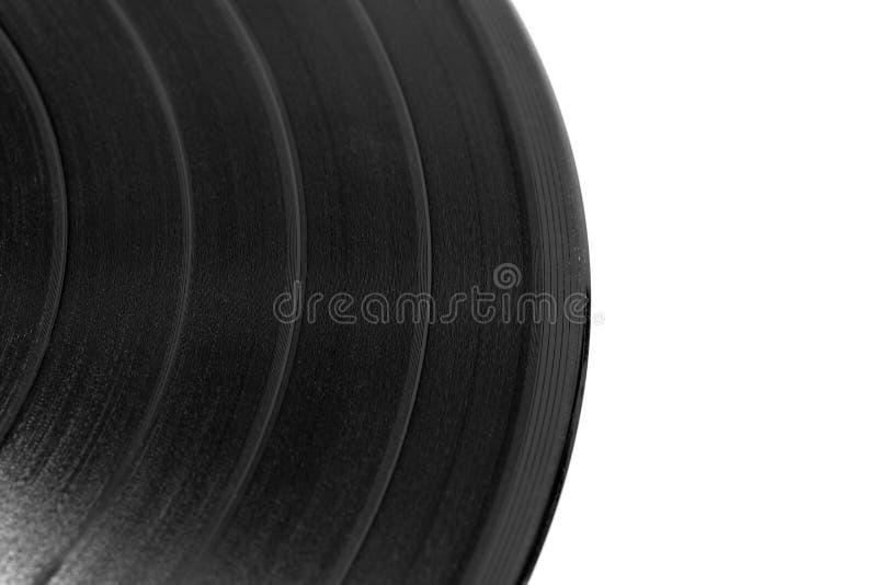 Närbild av en svart retro rekord- yttersida med kopieringsutrymme fotografering för bildbyråer
