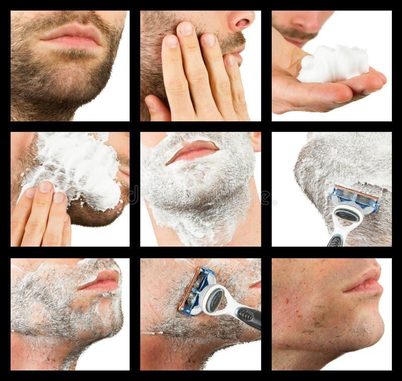 Närbild av en ung man som rakar, sammanställning royaltyfri foto