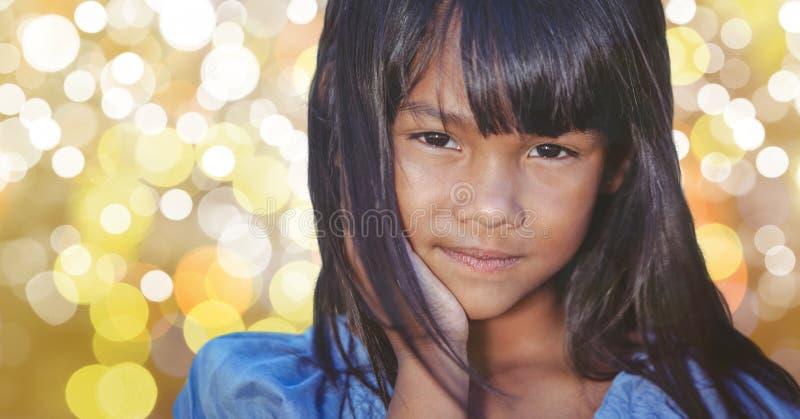 Närbild av flickan med långt hår över bokeh royaltyfri fotografi