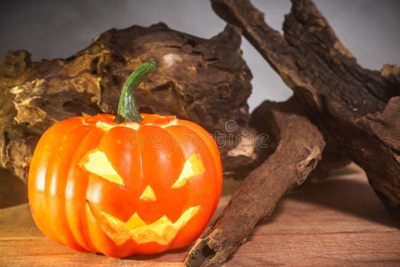 Närbild av halloween pumpa på tabellen, rökbakgrund royaltyfri fotografi