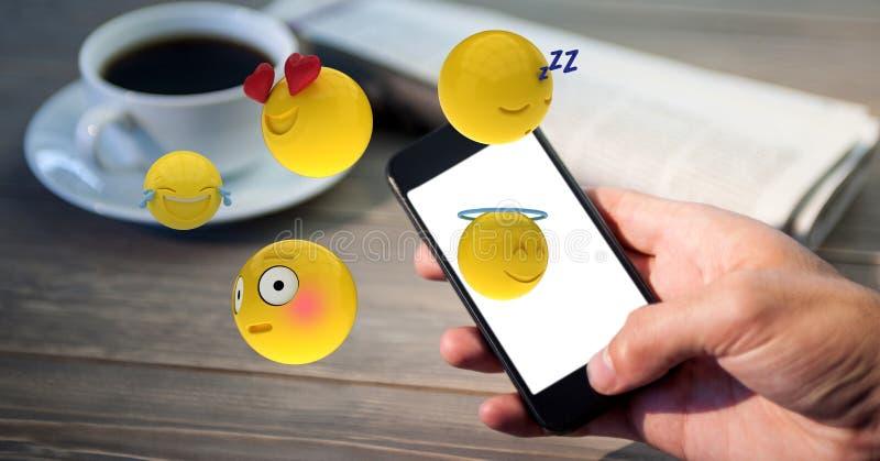 Närbild av handen genom att använda den smarta telefonen medan emojis som flyger över tabellen vektor illustrationer