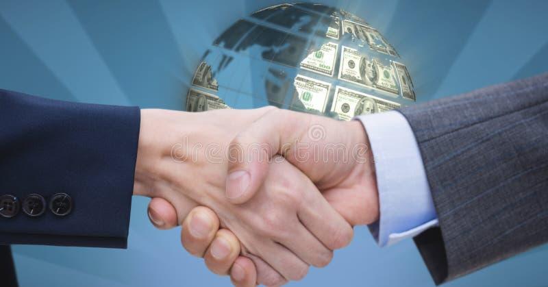 Närbild av handskakningen med pengar i bakgrund stock illustrationer