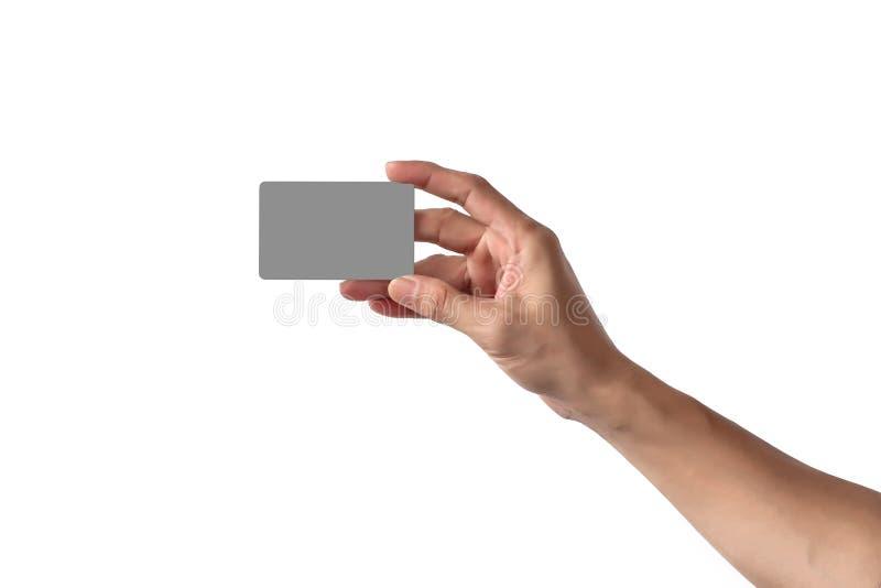 Närbild av kreditkorten eller affären för mellanrum för manhandinnehav den tomma arkivfoto