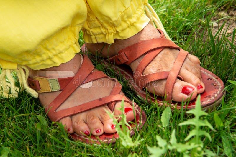 Närbild av kvinnas fot med sandaler i gräset arkivfoto