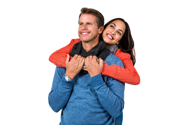 Närbild av lyckligt krama för par arkivfoton