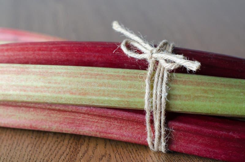 Närbild av ny gräsplan och röd rabarber som slås in med repet sida arkivfoto