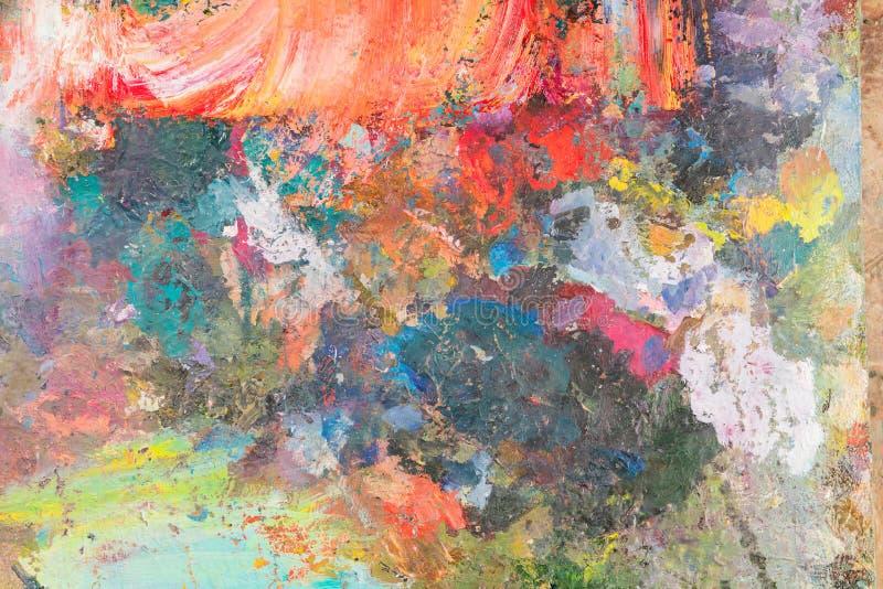 närbild av olika färger med olje- målarfärg kulör akryl Th royaltyfria foton