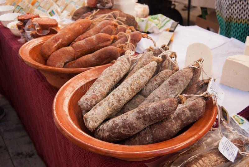 Närbild av spansk salami royaltyfri fotografi