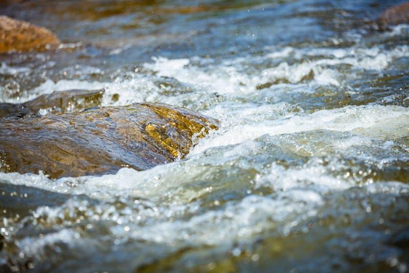 Närbild av stenen med vattenforsar på floden royaltyfri fotografi