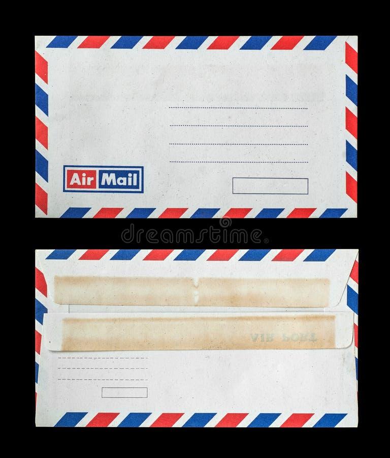 Närbild av två gamla kuvert på svart royaltyfria foton