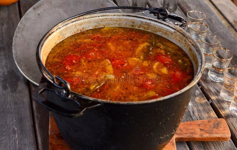 Närbild av varm nötköttjaktgulasch eller bograchsoppa med paprika, liten äggpasta, grönsaker och kryddor i en kruka arkivfoton