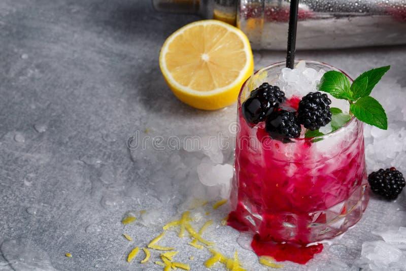 Närbild av whiskyexponeringsglas av den rosa coctailen för bär och en metallshaker Dryck med mintkaramellen, citronen och björnbä fotografering för bildbyråer