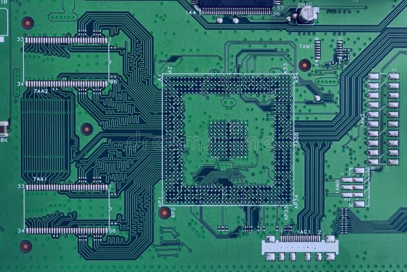 Närbild för grön färg för bräde för elektronisk strömkrets royaltyfri bild