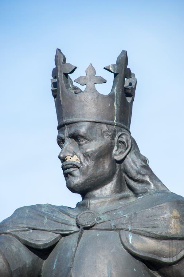 Närbild för huvud på monumentet av Casimir droppJagiellon polermedel: Kazimierz dropp Andrzej Jagiellonczyk i Malbork royaltyfri fotografi