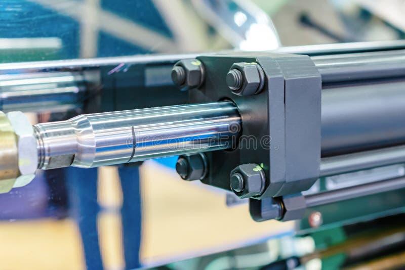Närbild för hydraulisk cylinder arkivfoton
