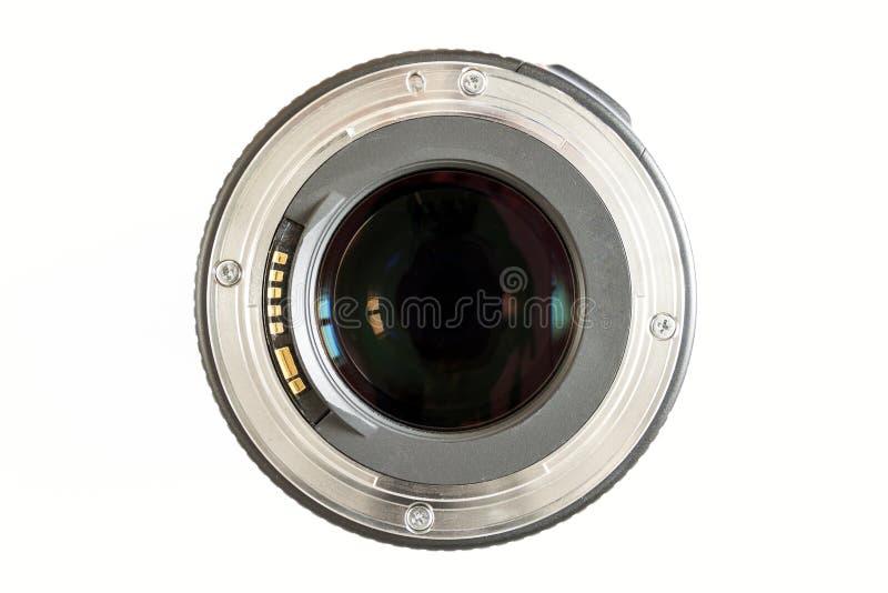 Närbild för kamerafotolins på vit bakgrund med lensereflec royaltyfri fotografi