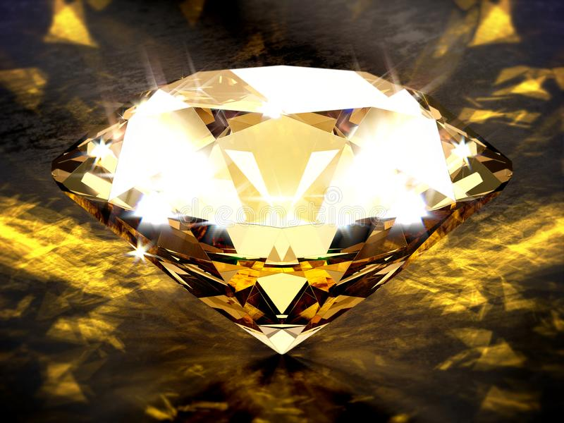 Närbild på en diamant på en svart betongnivå med guld- småelaka ljusa effekter stock illustrationer