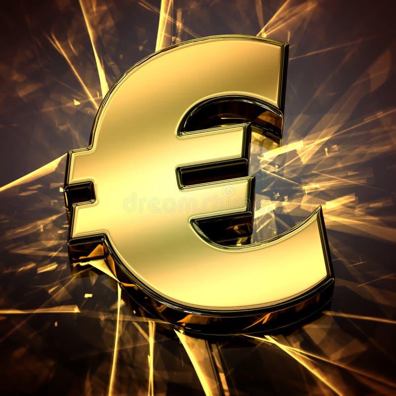 Närbild på ett guld- eurosymbol med småelakt ljus vektor illustrationer