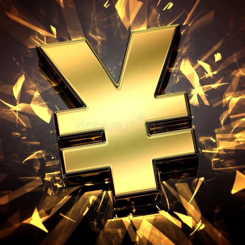 Närbild på ett guld- yensymbol med småelakt ljus stock illustrationer