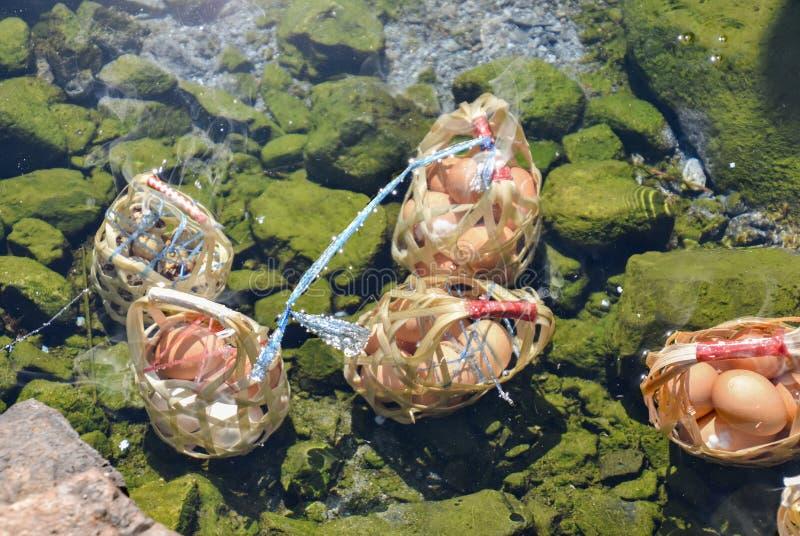Närbild som kokar ägg i Hot Springs på nationalparken i Lampang, Thailand arkivbilder