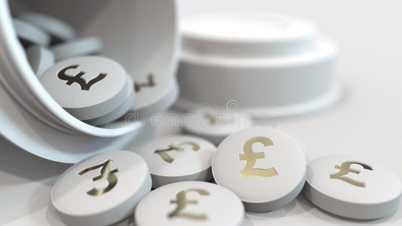 Närbild som skjutas av piller med det stämplade pundGBP symbolet på dem Dyra droger eller finansiell bot begreppsmässig 3D vektor illustrationer