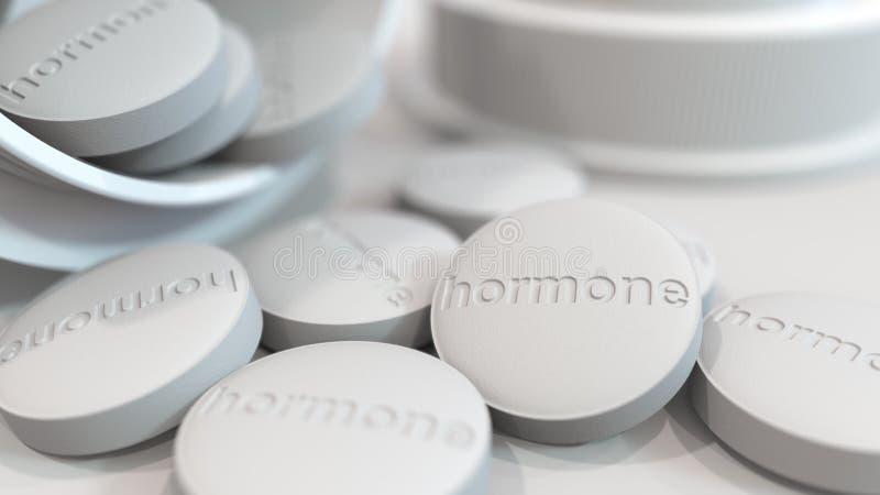 Närbild som skjutas av piller med stämplad hormontext på dem framförande 3d vektor illustrationer