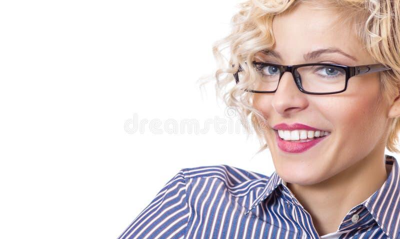 Närbild som skrattar den lyckliga skolläraren arkivfoto
