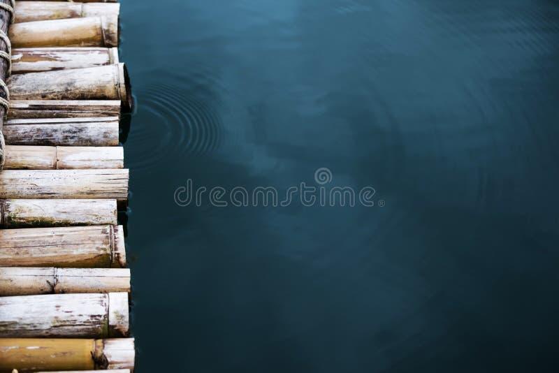 Närbildbambuflotte på vattnet royaltyfri fotografi