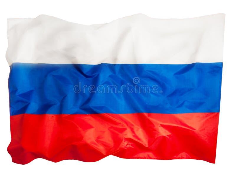 Närbildbild av den stora silkeslena rufsade ryska flaggan arkivfoto