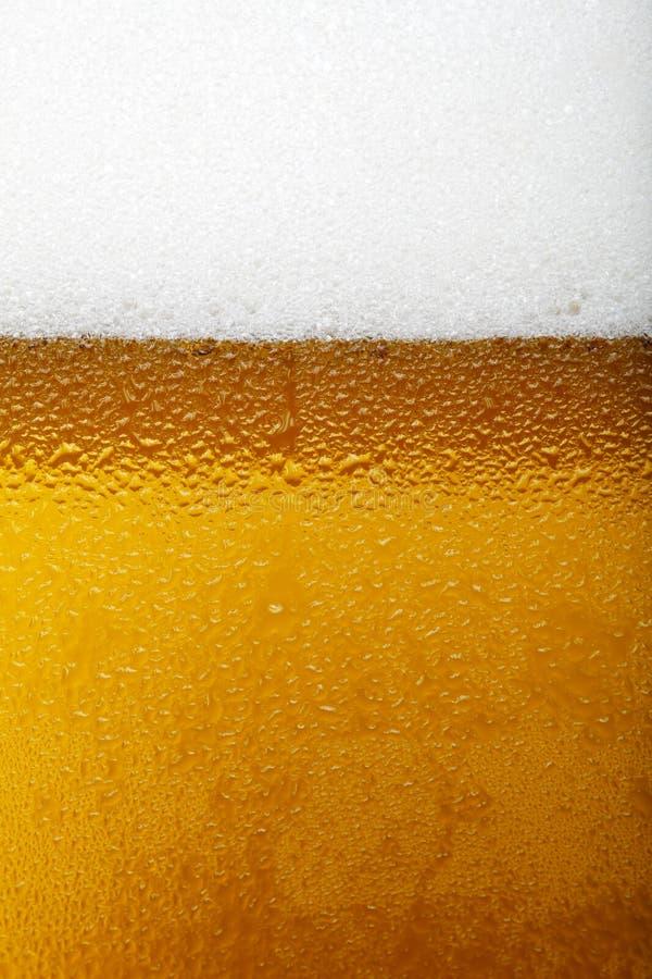 Närbildbild av ett öl med skum och bubblor arkivfoton