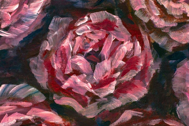 Närbildblomma för olje- målning Makro för closeup för pion för stora röda violetblommor rosa på kanfas Modern impressionism vektor illustrationer