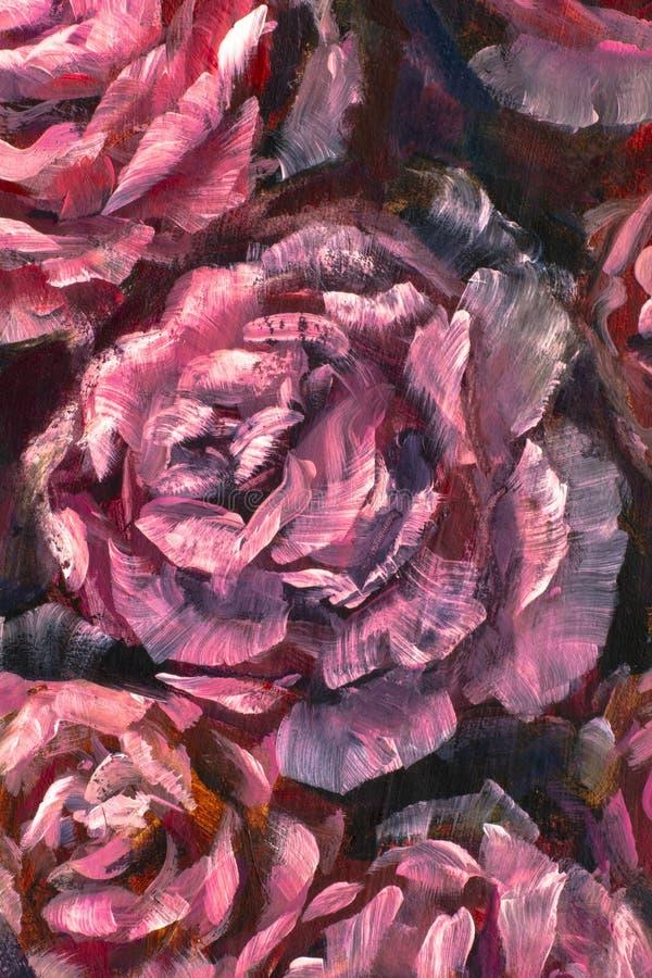 Närbildblomma för olje- målning Makro för closeup för pion för stora röda violetblommor rosa på kanfas Modern impressionism stock illustrationer