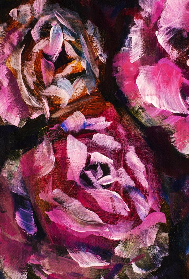 Närbildblomma för olje- målning Makro för closeup för pion för stora röda violetblommor rosa på kanfas Modern impressionism royaltyfri illustrationer