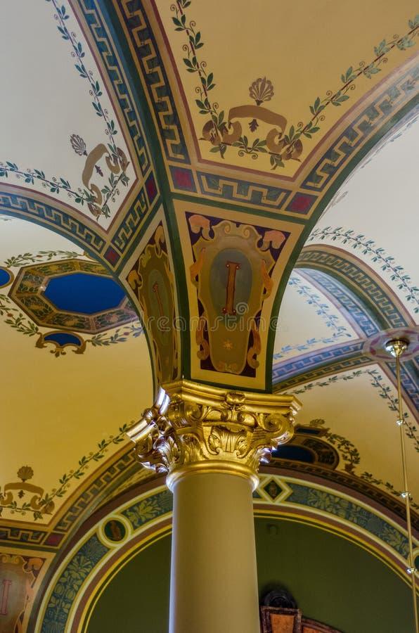 Närbilddetaljer av arkitektur, Iowa statlig Kapitolium royaltyfria bilder