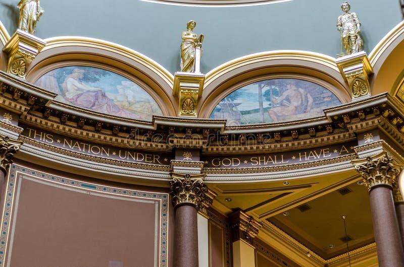 Närbilddetaljer av arkitektur, Iowa statlig Kapitolium arkivfoto