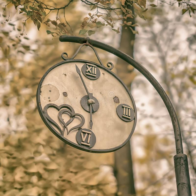 Närbilden av den brutna dekorativa tappningklockan i ett gammalt parkerar Begrepp av ändring av säsonger, höstnostalgikerlynne royaltyfria foton