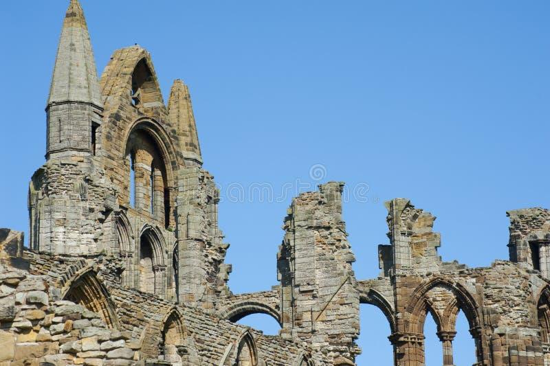 Närbilden av den gotiska Whitby Abbey fördärvar fotografering för bildbyråer
