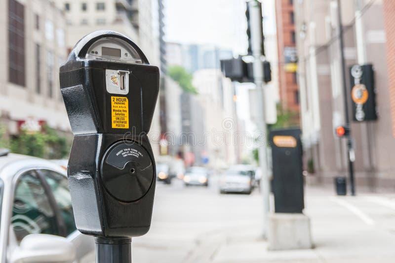 Närbilden av en generisk amerikansk parkering mete royaltyfri bild