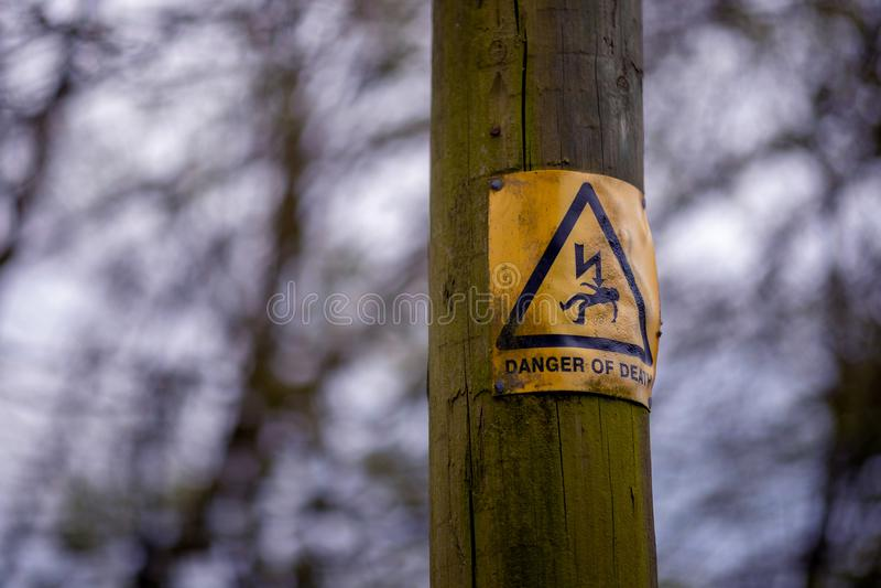 Närbilden av ett elektriskt varnande tecken på trästolpen i parkerar i Kent mot en suddig mest forrest bakgrund royaltyfri fotografi