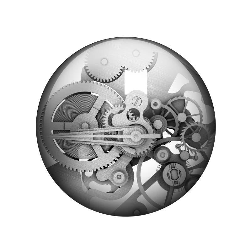 Närbilden av två stålkugghjul anknöt begreppet för förälskelse, familj, teamwork och partnerskap Sfärisk glansig knapp royaltyfri illustrationer