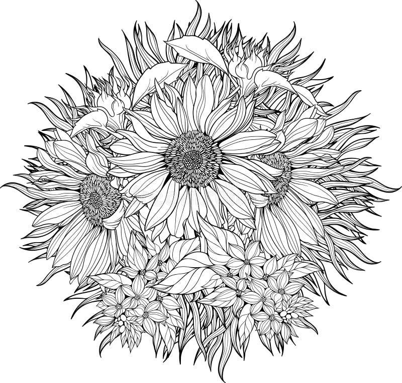 Närbildgrupp av solrosor royaltyfri illustrationer