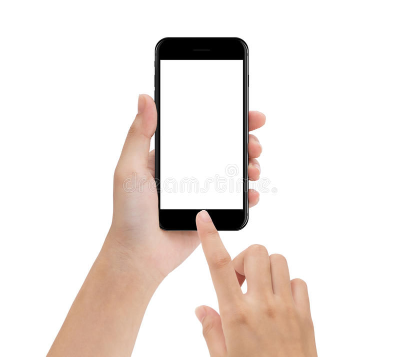 Närbildhanden genom att använda telefonmobilen som isoleras på vit, förlöjligar upp smar royaltyfria foton