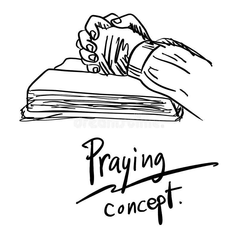 Närbildhanden som ber på bibelvektorillustration, skissar hand D royaltyfri illustrationer