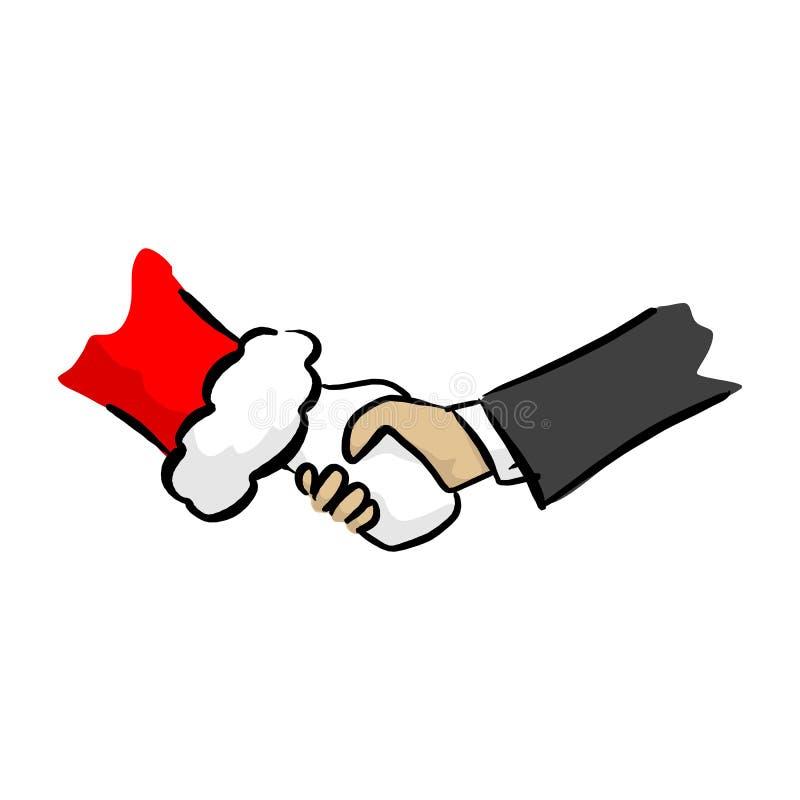Närbildhandskakningen mellan affärsmannen och den Santa Claus vektorillustrationen skissar klotterhanden som dras med svarta linj royaltyfri illustrationer