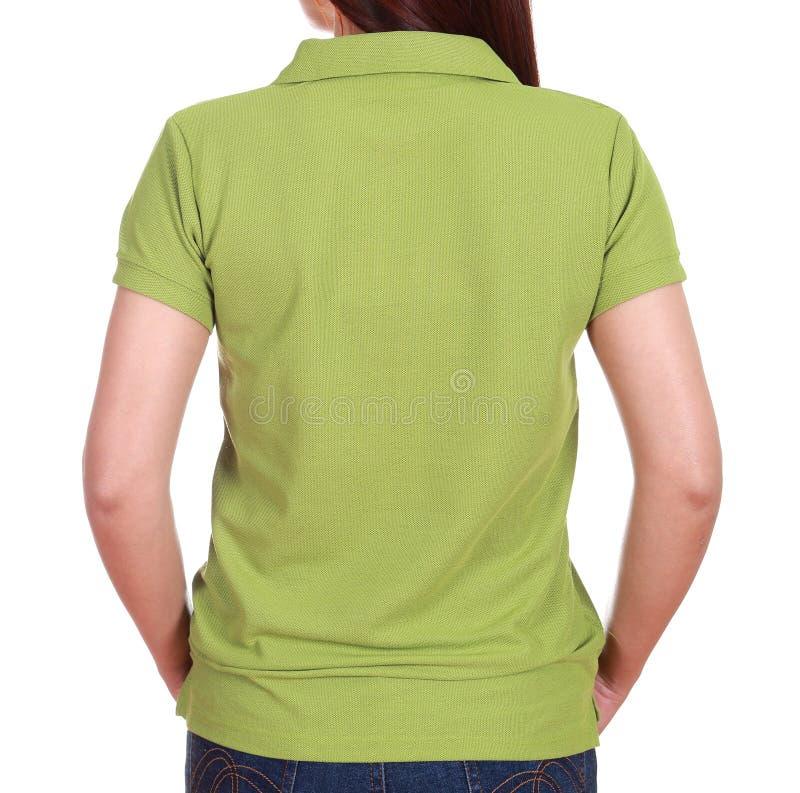 Närbildkvinnlig med skjortan för mellanrumsgräsplanpolo (den tillbaka sidan) royaltyfri fotografi